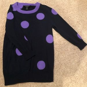 J. Crew Navy/Purple polka dot sweater